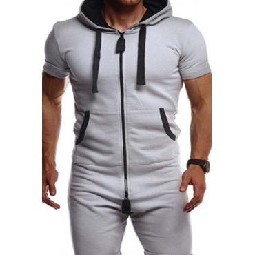 Lovely Sportswear Zipper Design Grey Two-piece Pants Set