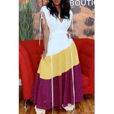 Lovely Casual V Neck Patchwork White Ankle Length Dress