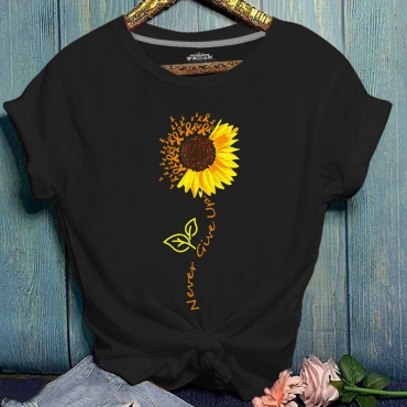 Lovely Ccasual O Neck Print Black T-shirt