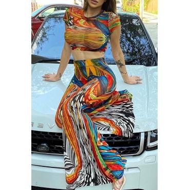 Lovely Bohemian O Neck Print Multicolor Two-piece Pants Set