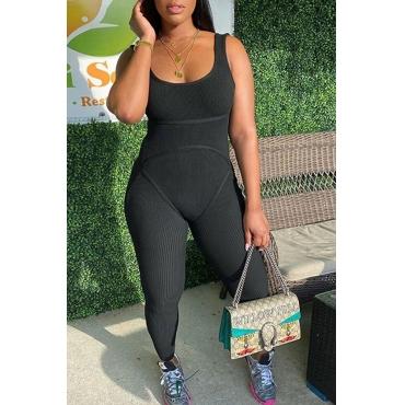 Lovely Trendy Basic Skinny Black One-piece Jumpsuit