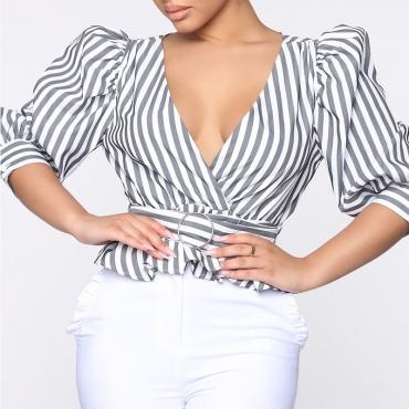 Lovely Stylish V Neck Striped Grey Blouse
