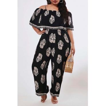 Lovely Casual Print Black Plus Size One-piece Jumpsuit