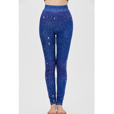 Lovely Sportswear Print Blue Leggings