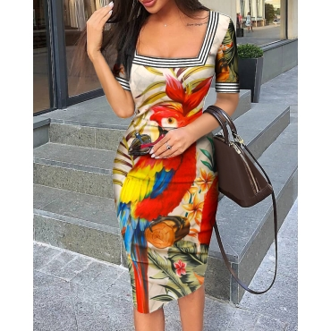 Lovely Stylish Print Multicolor Knee Length Dress