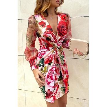 Lovely Trendy Deep V Neck Print Red Mini Dress
