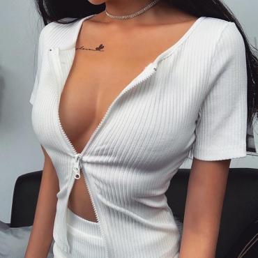 Lovely Sexy Zipper Design White T-shirt