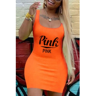 Lovely Casual U Neck Letter Orange Mini Plus Size Dress