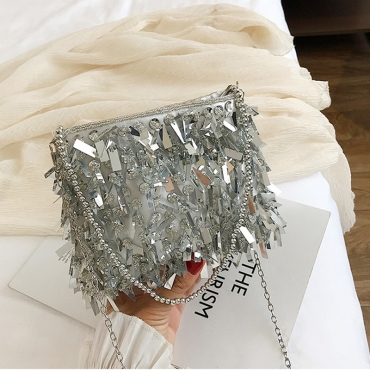 Lovely Retro Chain Strap Silver Crossbody Bag
