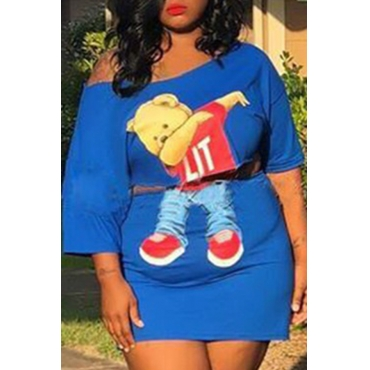 Lovely Casual Cartoon Print Blue Plus Size Two-piece Skirt Set