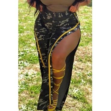 Lovely Trendy Camo Print Side Slit Plus Size Pants