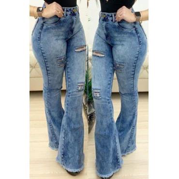 Lovely Retro Broken Holes Blue Jeans