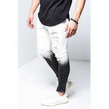 Lovely Trendy Gradual Change White Jeans