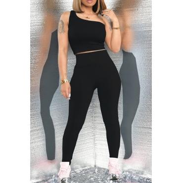 Lovely Sportswear One Shoulder Black Two-piece Pants Set
