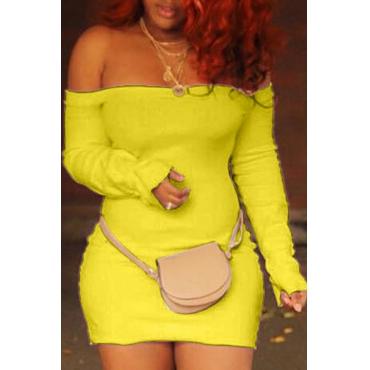 Lovely Trendy Dew Shoulder Skinny Yellow Mini Dress