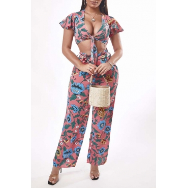 Lovely Trendy Print Pink Two-piece Pants Set
