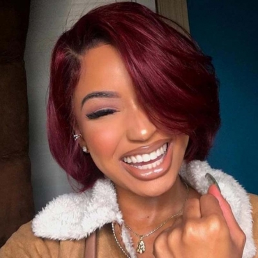 Lovely Casual Bobo Wine Red Wigs