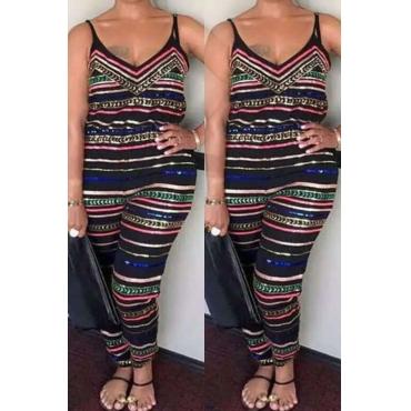 Lovely Trendy Striped Print Multicolor Plus Size One-piece Jumpsuit