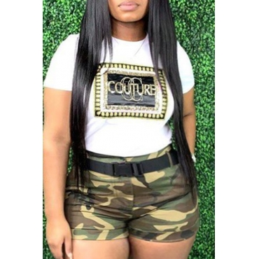 Lovely Trendy Camo Print Plus Size Two-piece Shorts Set