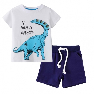 Lovely Casual Print Royalblue Boy Two-piece Shorts Set