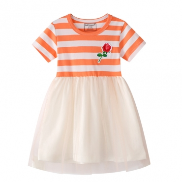 Lovely Stylish Patchwork Orange Yellow Girl Knee Length Dress