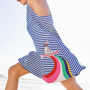 Lovely Sweet Striped BlueGirl Knee Length Dress