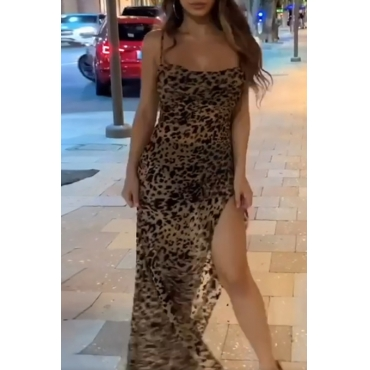 Lovely Sexy Print Brown Ankle Length Dress