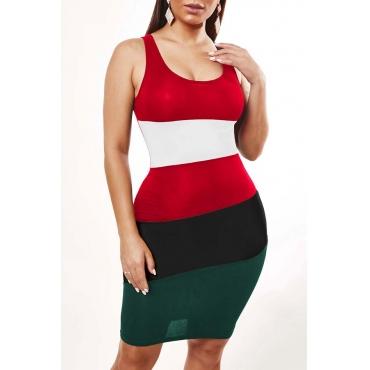 Lovely Leisure Striped Blackish Green Knee Length Dress