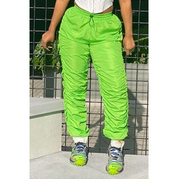 Lovely Casual Fold Design Green Pants