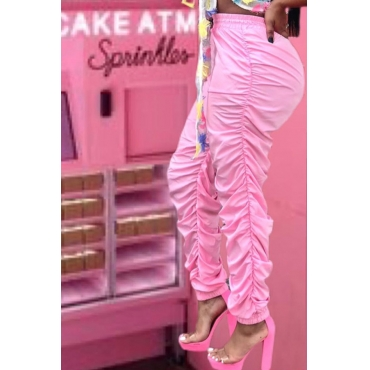Lovely Casual Fold Design Pink Pants