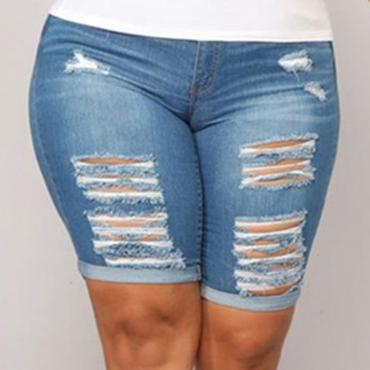 Lovely Casual Broken Holes Royalblu Plus Size Shorts