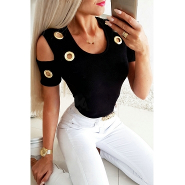 Lovely Trendy Hollow-out Black T-shirt