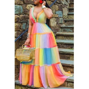 Lovely Trendy Deep V Neck Patchwork Multicolor Maxi Dress(Batch Print)
