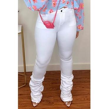 Lovely Leisure Fold Design White Pants