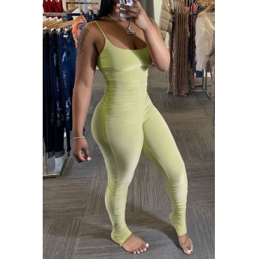 Lovely Sexy Fold Design Light Green One-piece Jumpsuit
