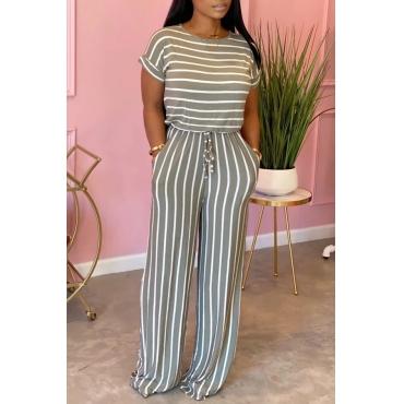 Lovely Trendy Striped Print GreyOne-piece Jumpsuit