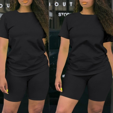 Lovely Casual Basic Black Plus Size Two-piece Shorts Set