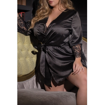 Lovely Sexy Patchwork Black Plus Size Gowns