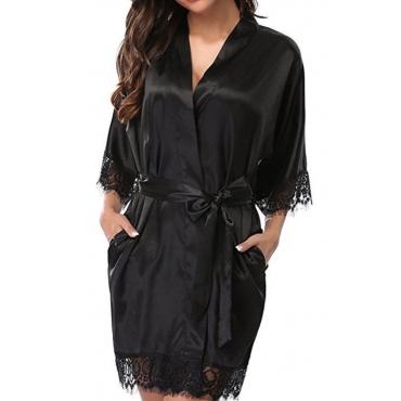 Lovely Sexy Lace Hem Black Sleepwear