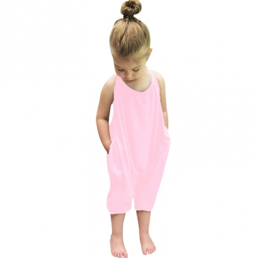 Lovely Trendy Pocket Patched Pink Girl One-piece Jumpsuit