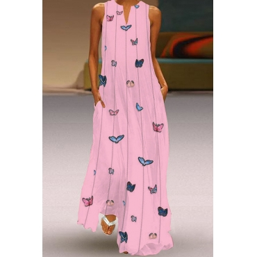 Lovely Trendy Butterfly Print Pink Maxi Plus Size Dress