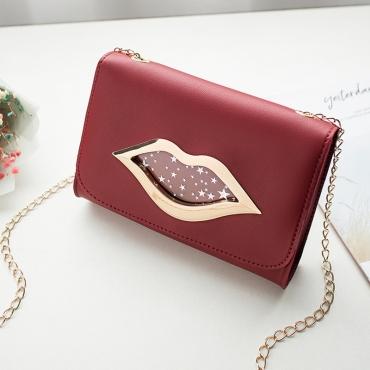 Lovely Stylish Lip Print Red Messenger Bag