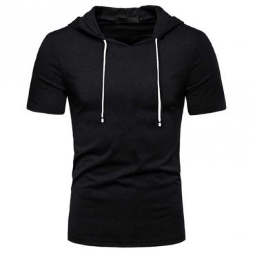 Lovely Sportswear Hooded Collar Black T-shirt