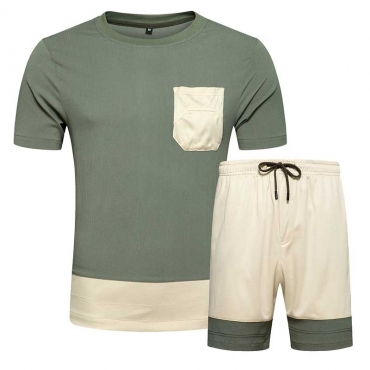 Lovely Leisure Patchwork Army Green Two-piece Shorts Set