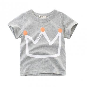 Lovely Casual O Neck Print Grey Boy T-shirt
