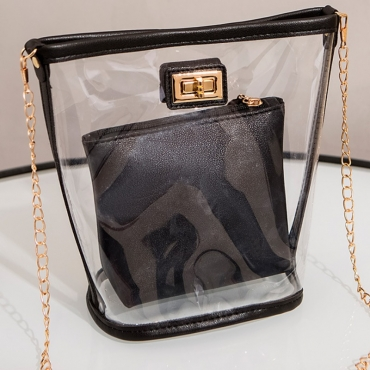 Lovely Chic See-through Black Messenger Bag