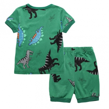 Lovely Casual Cartoon Print Green Boy Two-piece Shorts Set