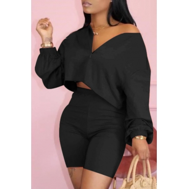 Lovely Casual Zipper Design Black Two-piece Shorts Set