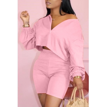 Lovely Casual Zipper Design Pink Two-piece Shorts Set