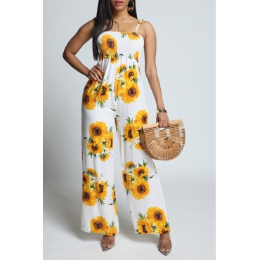 Lovely Stylish Sunflower Print Yellow One-piece Jumpsuit